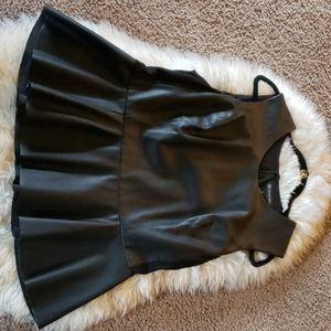 INC Black Faux Leather Peplum Top XL